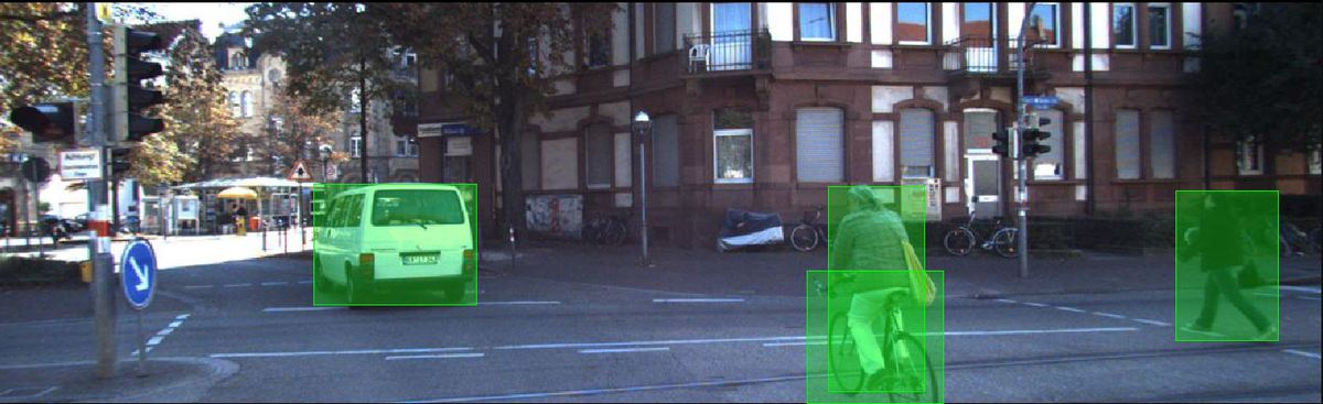 This 2-D image of a street scene has been annotated with bounding boxes using UAI Annotator, a data annotation tool. Source: UnderstandAI, a DSpace company.