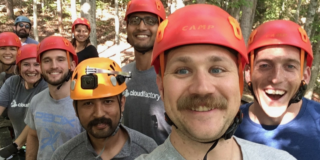 CloudFactory U.S. Team Bonds on Zipline Tour